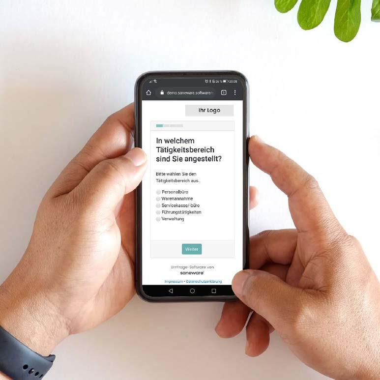 Smartphone mit Umfrage